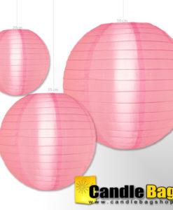 roze nylon lampion van 20cm