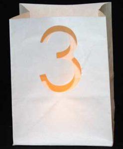 candle bag met cijfer 3