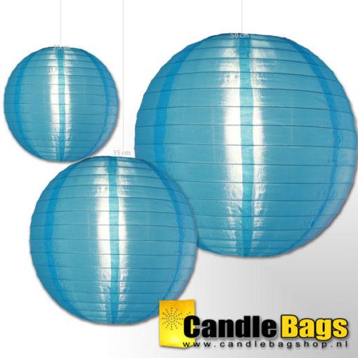 Blauwe nylon lampion met diameter van 35cm