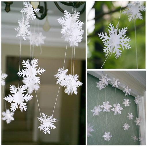 #d Kerst decoratie sneeuwvlok slinger papier
