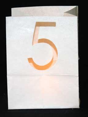 candle bag met het cijfer 5