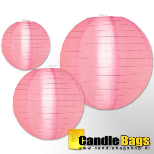 roze nylon lampionnen van 50cm