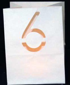 candle bag met cijfer 6