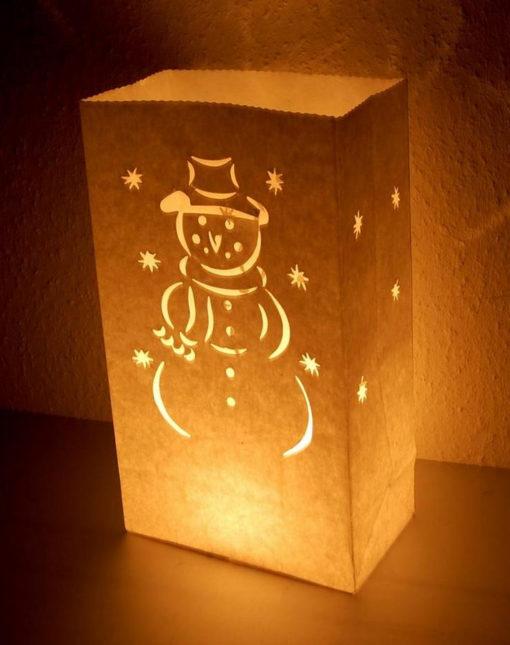 mooie candle bag met sneeuwpop