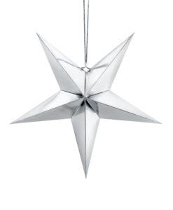 Prachtig zilveren kerst ster met een afmeting van 45 cm