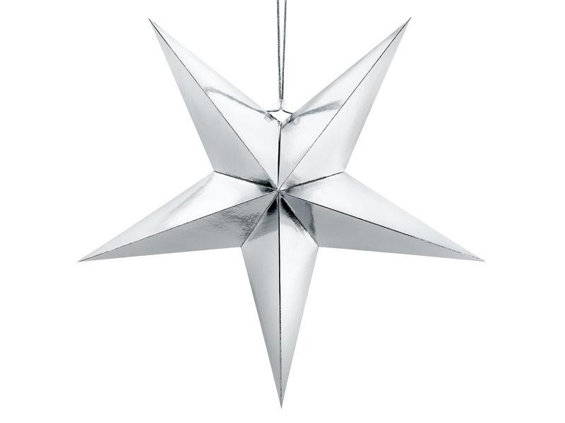 Zilveren kerst ster 70cm