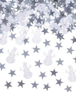 Tafel confetti zilveren sterren met sneeuwpop