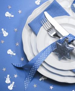 Tafel confetti zilver sterren met sneeuwpop