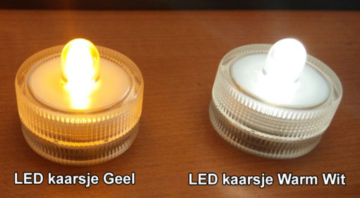 LED kaarsje geel en warm wit