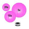Lampion voordeelpakket-candy-roze-lampionnen zonder verlichting