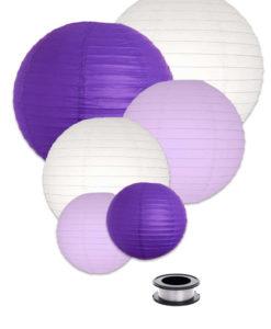 lampion pakket met paarse witte en lila lampionnen lampion voordeelpakket