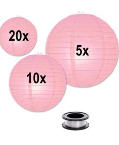 Lampion-voordeelpakket-roze-lampionnen-zonder-verlichting