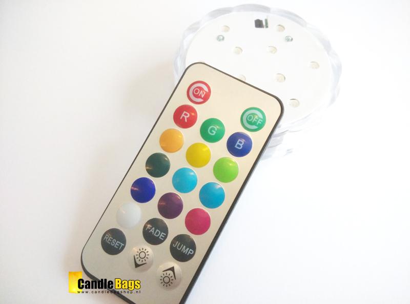 Meer kleuren LED Base op batterijen met afstandsbediening . Waterdicht