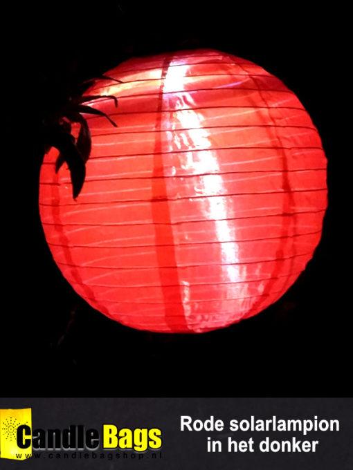 Onze rode solarlampion op zonne energie