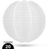 Witte Nylon lampion 20cm weerbestendige lampionnen voor buiten