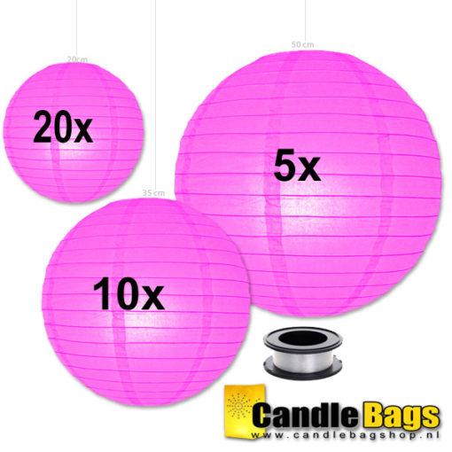 candy roze lampionnen voordeelpakket