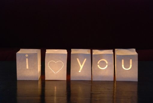 I heart you candlebag set