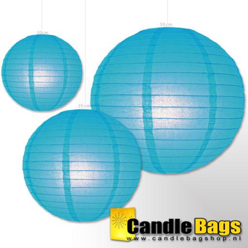 Blauwe lampion van 35cm