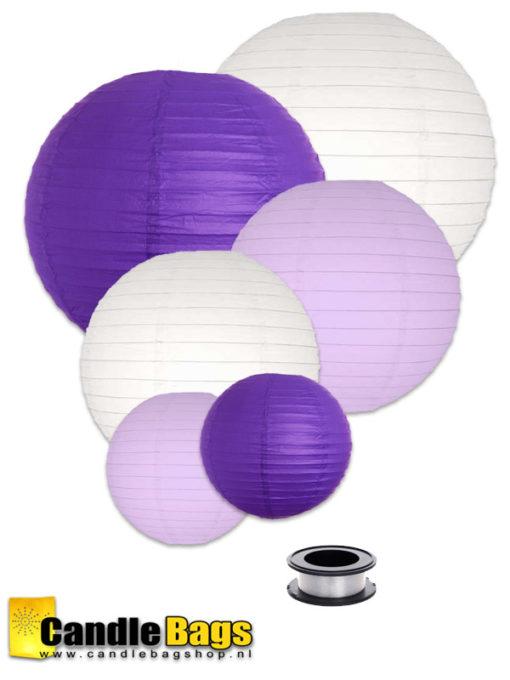 Pakket met paarse lila en witte lampionnen