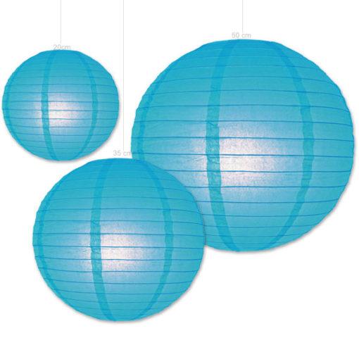 Blauwe papieren lampion verkrijgbaar in 3 formaten 20 , 35 en 50cm