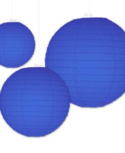 donker blauwe papieren lampion verkrijgbaar in diverse afmetingen