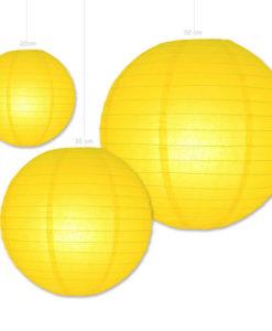 Papieren lampion in de kleur geel verkrijgbaar in diverse afmetingen