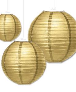 papieren gouden lampion verkrijgbaar in diverse afmetingen