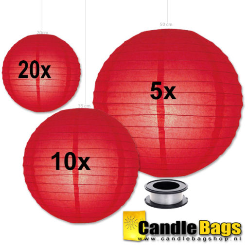 rode lampionnen voordeelpakket met verlichting