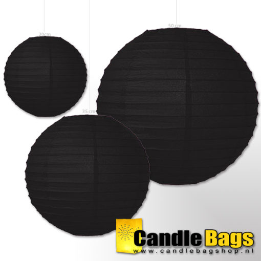zwarte lampion 20 cm