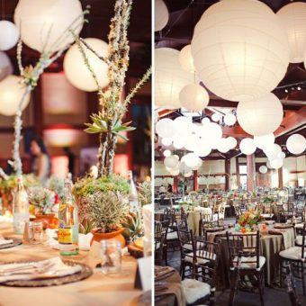 mooie witte lampionnen bruiloft