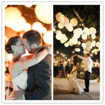 bruiloft witte lampionnen