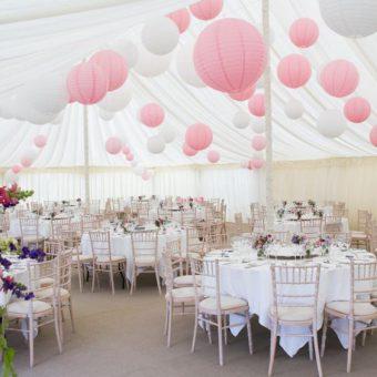 witte en roze lampionnen