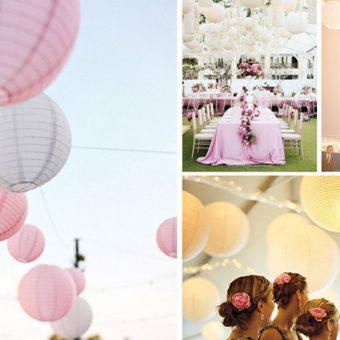 Wit en roze lampionnen