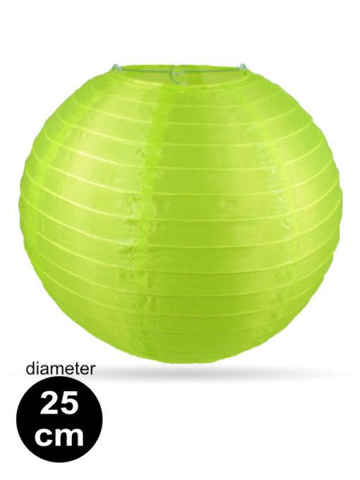 Lime groene nylon lampion van 25cm