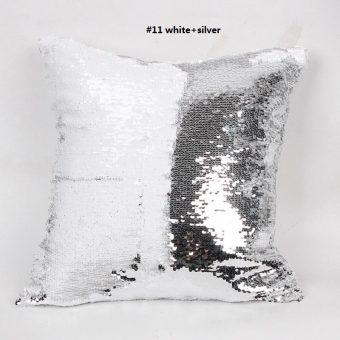mermaid kussen pillow in de kleuren wit zilver