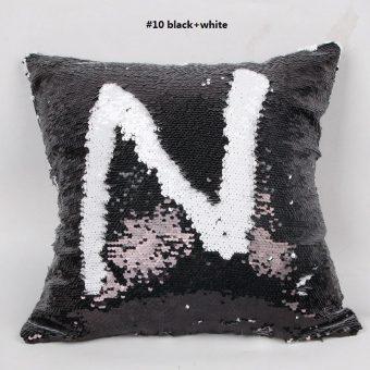 mermaid kussen pillow in de kleuren zwart wit