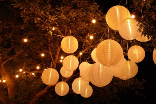 nylon lampionnen in boom