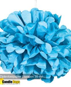 pom pom 35cm aqua blauw