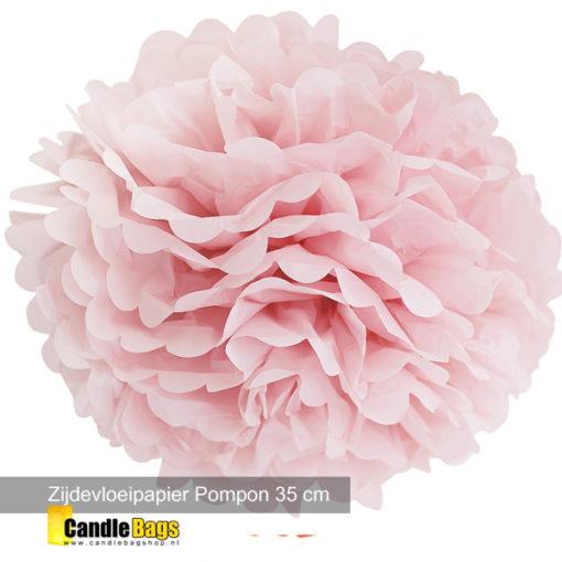 pompon 35cm roze