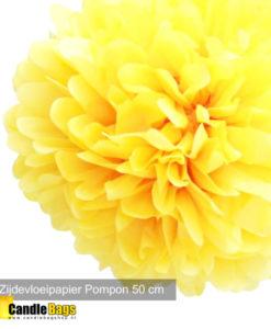 pompom 50 cm geel