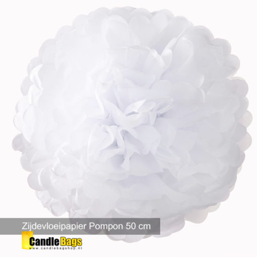 witte pompon van 50cm