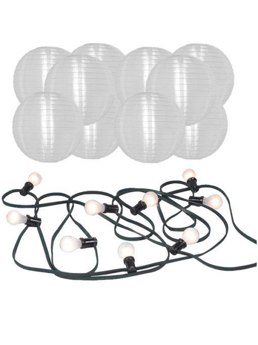 prikkabel inclusief lampen en nylon lampionnen