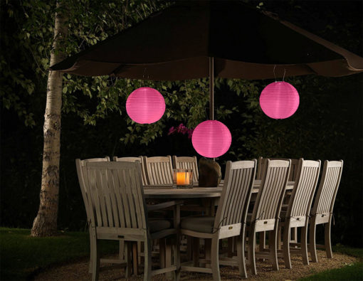 Roze solar lampion nylon