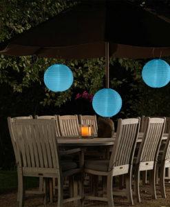 solar lampion blauw