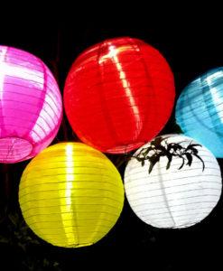 onze solarlampionnen in het donker