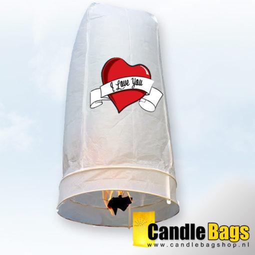 Wensballon met i love you opdruk van candlebagshop.nl