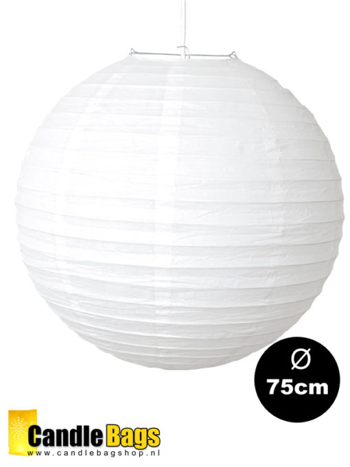 Witte lampion met doorsnede van 75 cm